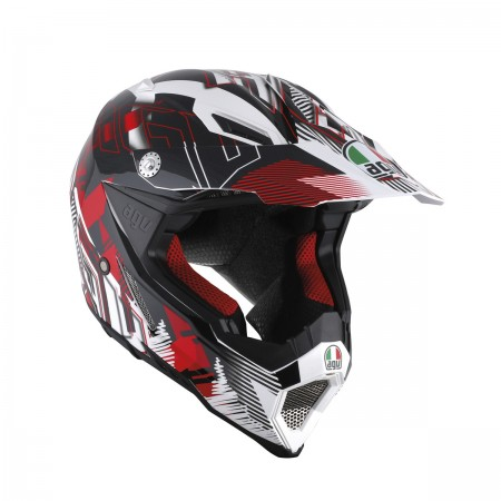 AGV AX-8 EVO E2205 MULTI - NOFOOT WHITE/RED