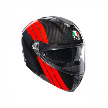AGV  SPORTMODULAR MULTI E2205 - STRIPES CARBON/RED ανοιγόμενο κράνος