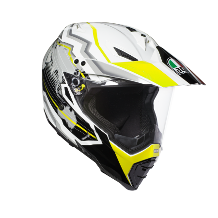 AGV AX-8 DUAL EVO E2205 MULTI - EARTH WHITE/BLACK/YELLOW FL.